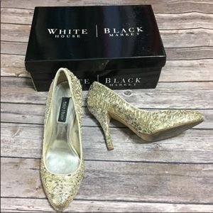 White House Black Market Gold Sequin Pumps